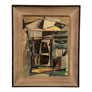 Circa 1950s Abstract Pen and Ink Watercolor Painting by Amoroso, Framed For Sale