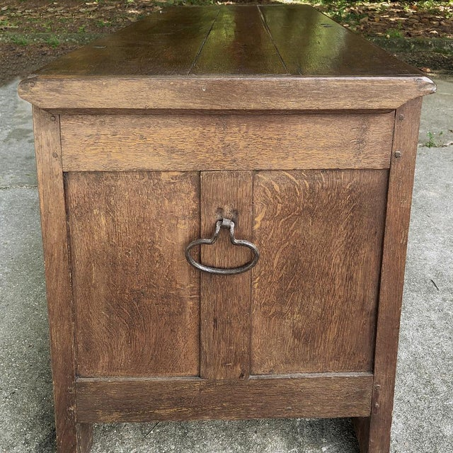 Metal Early 19th Century Country French Rustic Oak Trunk For Sale - Image 7 of 13
