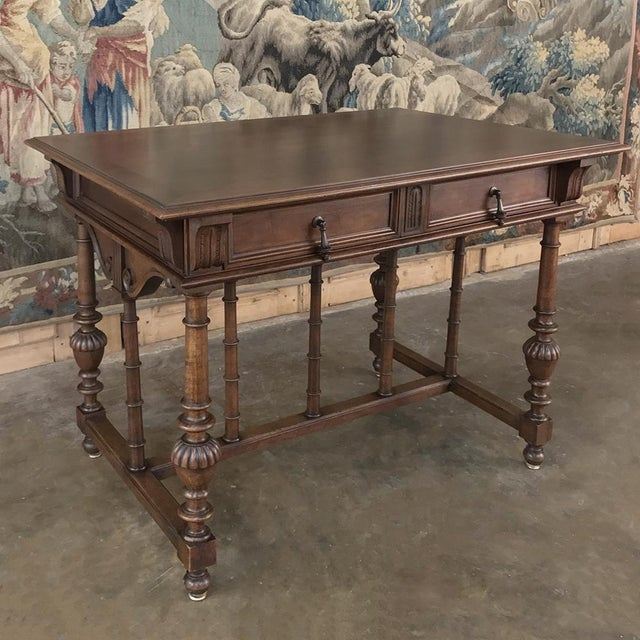 Neoclassical Revival 19th Century French Henri II Walnut Writing Table For Sale - Image 3 of 13