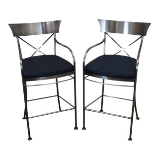 Design Institute of America Dia Brushed Steel Directoire Regency Bar Stools For Sale