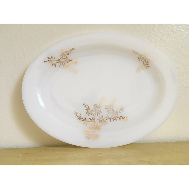 Gilded Milk Glass Mid Century Serving Tray - Image 2 of 8
