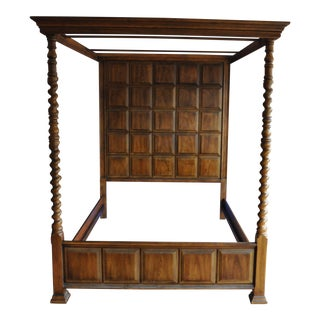 Henredon Paloma Series Pecan Queen Canopy Bed For Sale