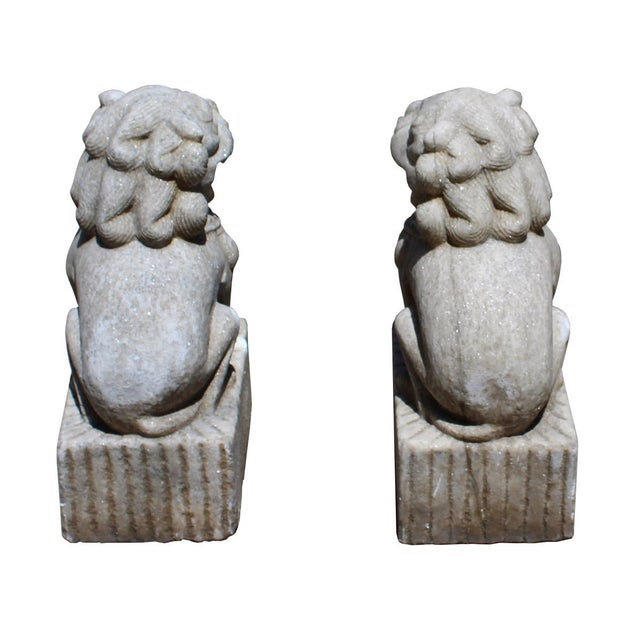 Chinese Distressed Marble Stone Fengshui Foo Dogs Statues - a Pair For Sale - Image 5 of 7