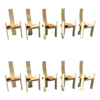 1980s Enrique Garcel Tessellated Sliced Antler Dining Chairs - Set of 10 For Sale