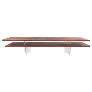 Mid-Century Modern Teak and Lucite Tabletop Shelf For Sale