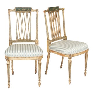Antique Italian Painted Side Chairs - A Pair For Sale