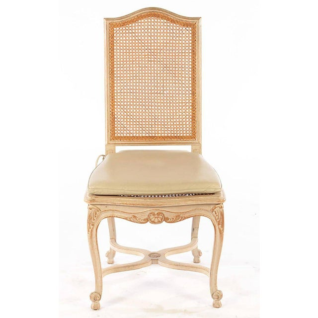 Louis XV Set of Six Louis XV Style High Back Caned and Painted Dining Chairs For Sale - Image 3 of 5