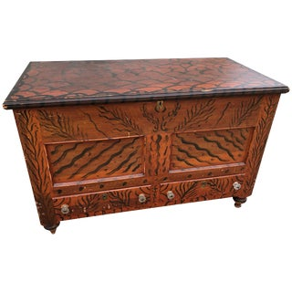 Paint-Decorated Blanket Chest Unusual Free Hand-Painted, Oley Pennsylvania For Sale