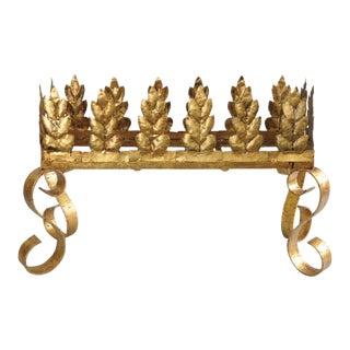 Vintage Italian Hollywood Regency Gold Gilt Iron Planter Stand Scrolling Tole Holder