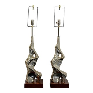 1970s Mid Century Modern Maurizio Tempestini Brutalist Nickel Table Lamps - a Pair