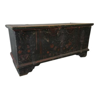 Antique 19th Century Swedish Painted Trunk For Sale