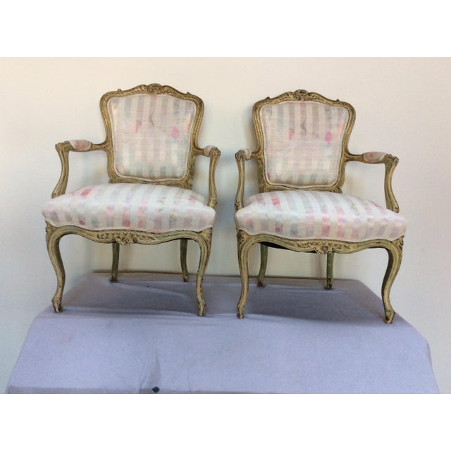 Off-white Vintage French Arm Chairs - A Pair For Sale - Image 8 of 8