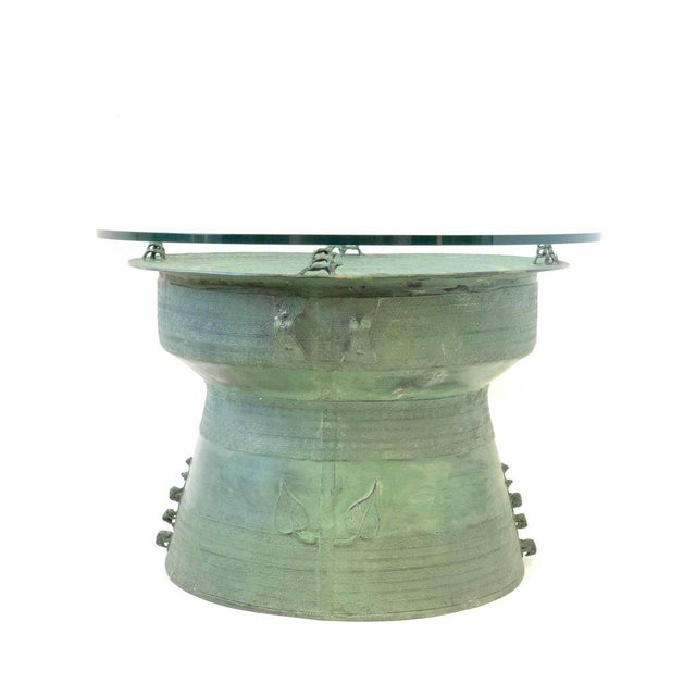 Pair of Bronze and Glass South Asian Rain Drum Tables For Sale In Palm Springs - Image 6 of 11