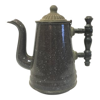 Antique Brown Granite Coffee Pot