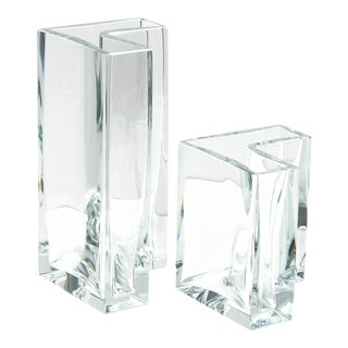 """Set of Two Large """"Angolari"""" Vases by Roberto Sambonet for Baccarat, 1978 For Sale"""