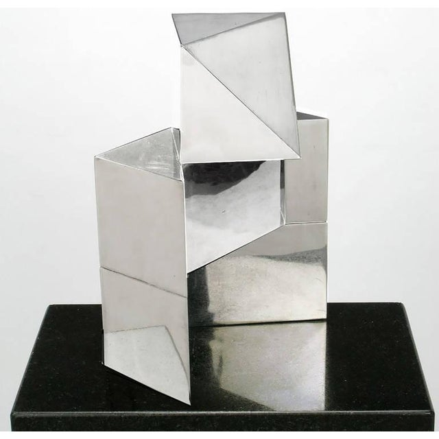 Chrome Cubist Sculpture on Black Granite Pedestal For Sale In Chicago - Image 6 of 7