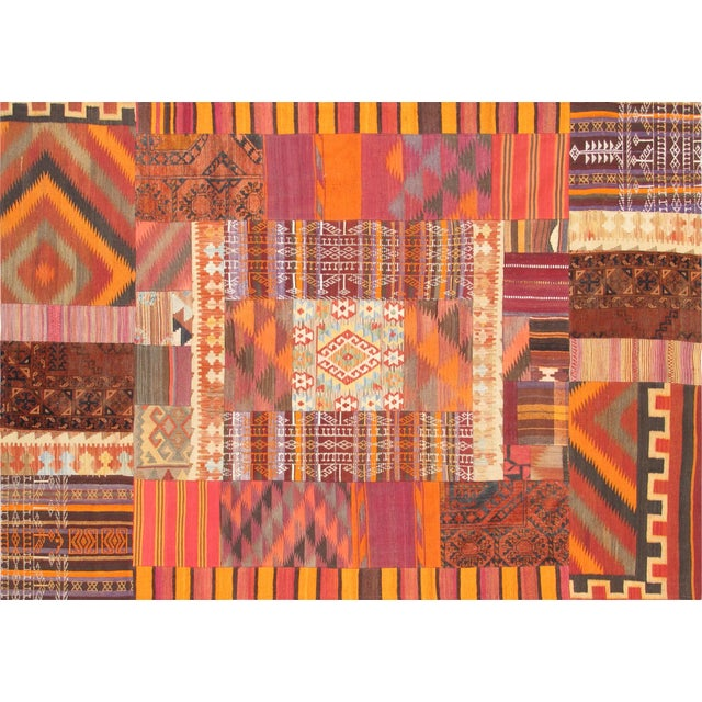 Vintage 6x9 patchwork rug made of beautifully woven vintage hand-knotted rugs from Anatolia and sewn together. This unique...