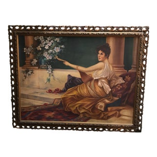 Antique Oil on Fabrique Painting For Sale