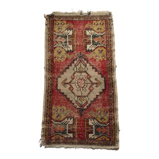 Vintage Hand Knotted Persian Rug Small Layer Rug Bohemian Chic