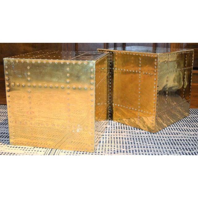 Sarreid Ltd. Sarreid Ltd. Brass Cube Side Tables - a Pair For Sale - Image 4 of 10