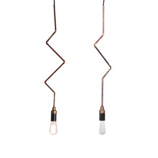Plug-In Industrial Copper Pendant Lights - A Pair