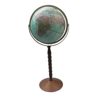 Vintage Globe on Metal Floor Stand For Sale