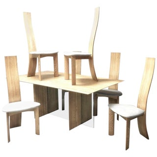 1970s Vintage Bob & Dries Van Den Bergh Bleached Cerrused Oak Dining Set- 7 Pieces For Sale