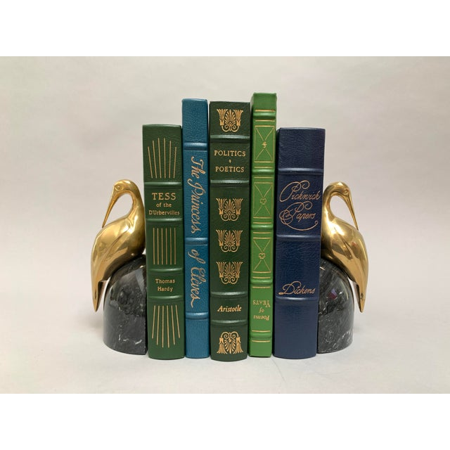 Art Deco Brass and Marble Egret or Crane Bookends – a Pair For Sale - Image 4 of 13