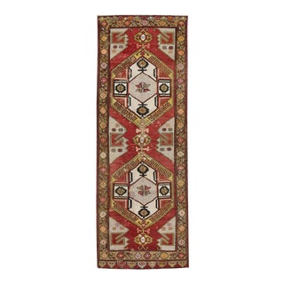 Vintage Turkish Oushak Carpet Runner with Mid-Century Modern Style For Sale