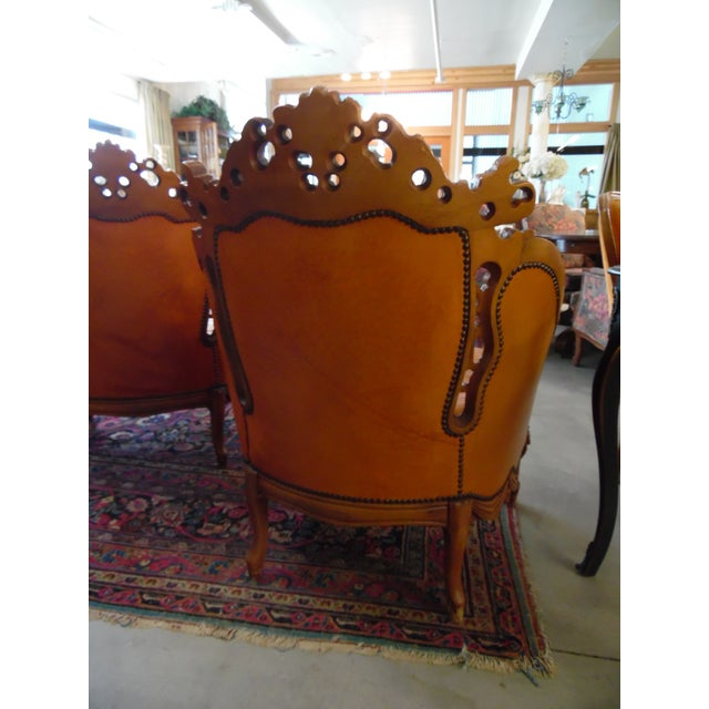 1930s Hand Carved Leather Chairs - Set of 4 For Sale - Image 4 of 9