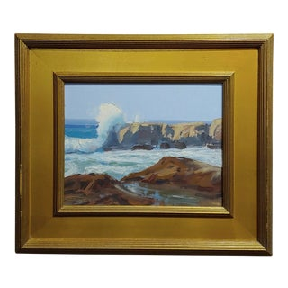 Jeff Sewell-Laguna Beach Crashing Waves-California Impressionist Oil Painting For Sale