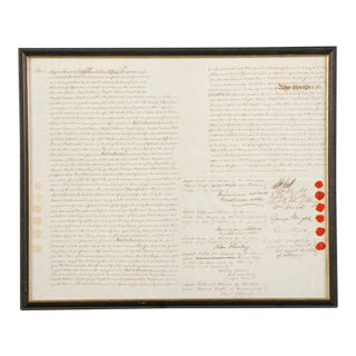 """1840s English """"Bond of Indemnity"""" Indenture Document For Sale"""