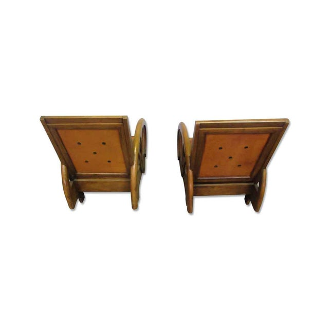 Carved Wood & Leather Lounge Chairs For Sale - Image 11 of 12