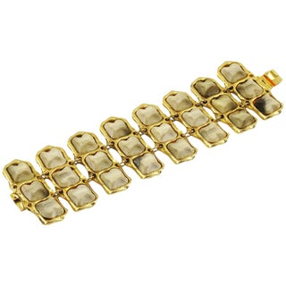 Kalinger Paris Signed Massive Gilt Metal Link Bracelet With Resin Cabochons For Sale