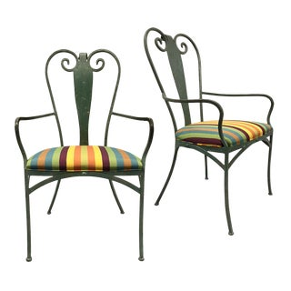 Vintage Forged Iron Solarium Chairs With Upholstered Cushion For Sale