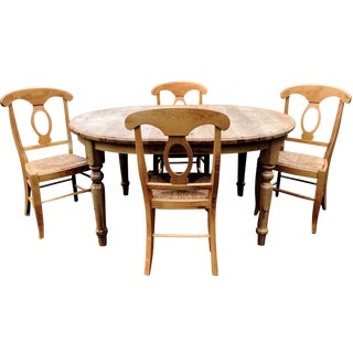 Country Pottery Barn Evelyn Dining Set - 5 Pieces For Sale