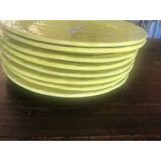 Yellow Vintage Secla Yellow Cabbage Dinner Plates From Portugal- Set of 8 For Sale - Image 8 of 10