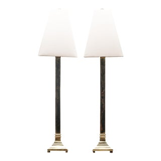 Lawrence & Scott Tall Square Polished Solid Brass Candlestick Table Lamp With Shades - a Pair For Sale