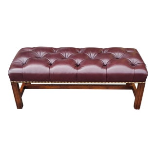 Burgundy Tufted Leather English Chippendale Style Bedroom Library Bench C1990 For Sale