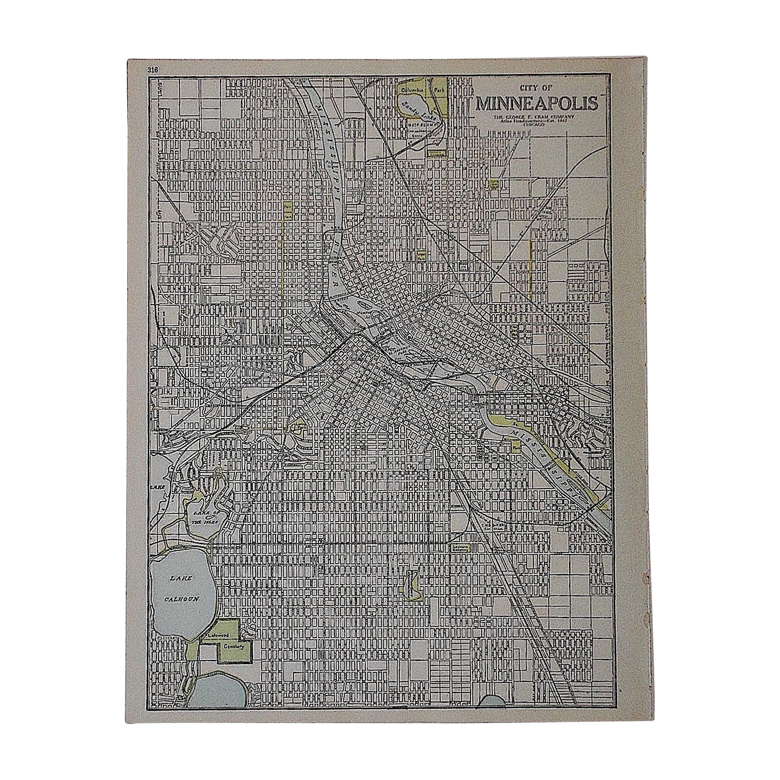 City Map Antique Lithograph Minneapolis Mn Chairish