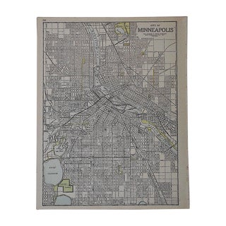City Map Antique Lithograph - Minneapolis, MN For Sale