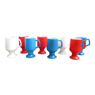 1960s Vintage Patriotic Milk Glass Mug Set- 8 Pieces For Sale