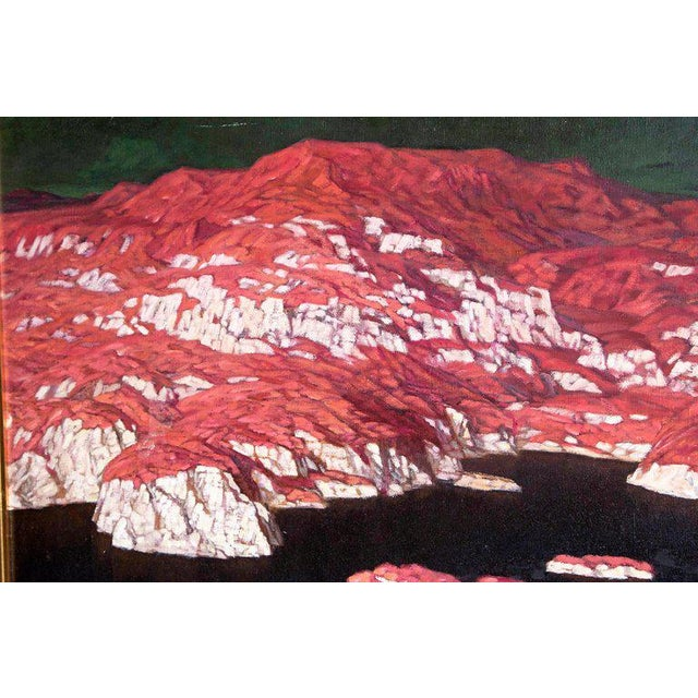 Blue Chinese Abstract Oil on Canvas of Mountains and Seascape, Indistinctly Signed For Sale - Image 8 of 13
