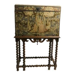 Renaissance Revival Tapestry Campaign Desk For Sale