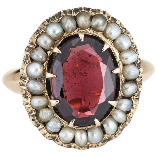 Metal Antique Deco Garnet Natural Seed Pearl Ring Vintage 14 Karat Yellow Gold Pinky For Sale - Image 7 of 7