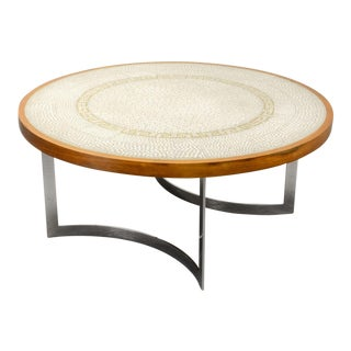 Mid-Century White and Gold Mosaic Coffee Table on Chrome Base by Berthold Muller, Germany, 1960s For Sale