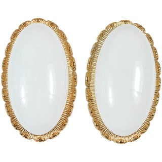 Mid-Century Modern Glashutte Limburg Gold Metal and Glass Oval Sconces - a Pair For Sale