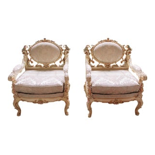 Silik Italian Rococo Antique Style White Carved Arm Chairs - a Pair For Sale