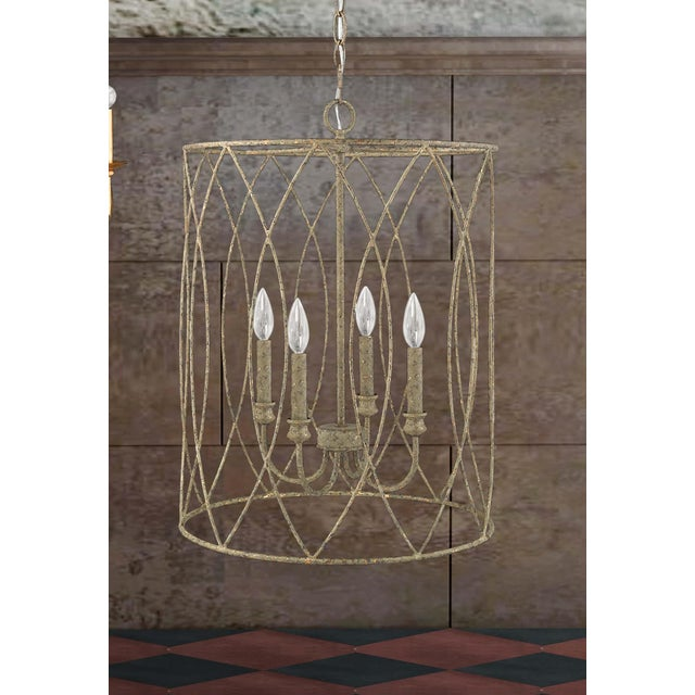 Lucie 4 Light Pendant, Rococo Grey Gold Leaf For Sale - Image 4 of 5