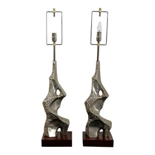 1960s Mid Century Modern Tempestini Polished Metal Table Lamps - a Pair